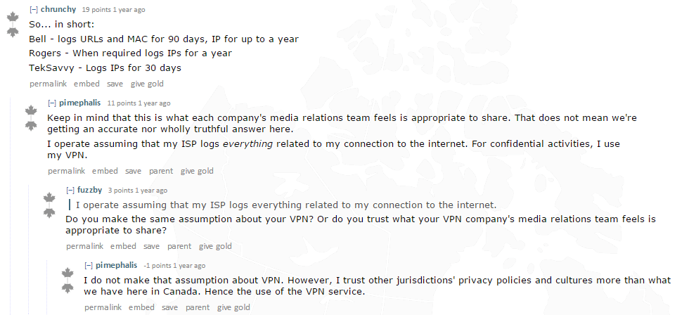 Reddit user comment on ISP data retention in Canada