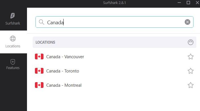Surfshark servers in Canada