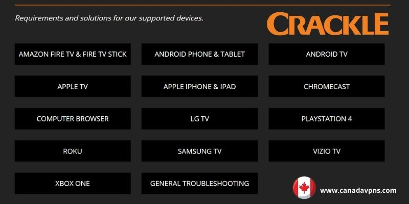 Crackle Supported Devices
