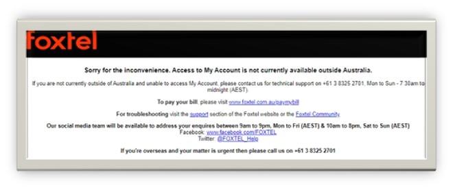 Foxtel Go geo-restriction