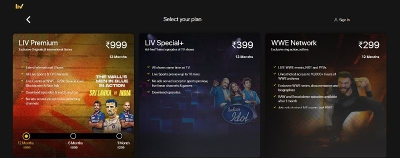 Sony Liv subscription price Canada