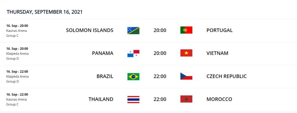 Sept 16 FIFA Futsal WC 2021