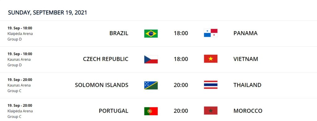 Sept 19 FIFA Futsal WC 2021