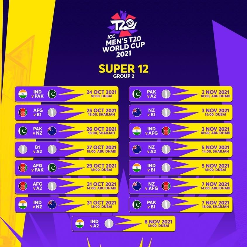 ICC T20 World Cup Super 12 schedule